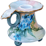 "Beautiful Vienna Austria 1907 Hand Painted ""Violets"" Fancy 3-Footed Chamberstick Holder by the Artist, ""M. DcLanty"""