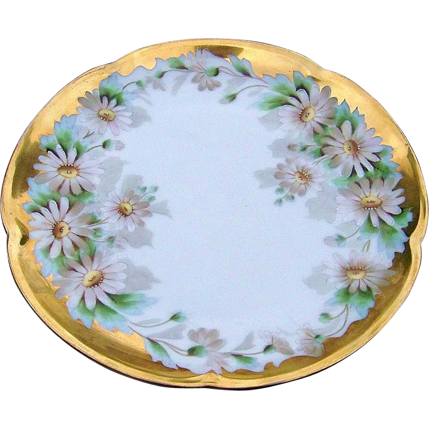 "Gorgeous Bavaria 1900's Hand Painted ""Daisies"" With Heavy Gold 7-5/8"" Plate"