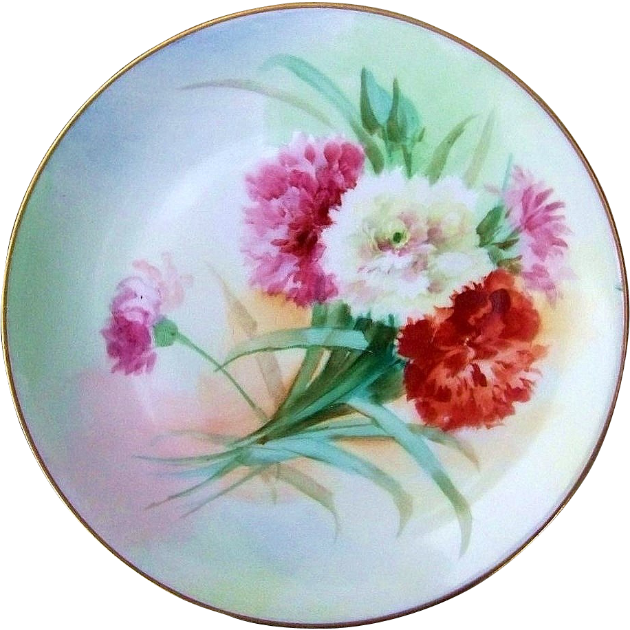 "Attractive Vintage 1900's Favorite Bavaria Hand Painted ""Pink, White, & Burnt Orange Mums"" 9"" Plate"