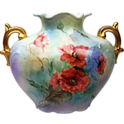 "Beautiful J.P.L. France Limoges 1900's Hand Painted ""Burnt Orange Poppy"" 6-7/8"" Pillow Vase by the Artist, ""Christine Seibert"""