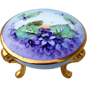 """Beautiful Bavaria 1900's Hand Painted """"Violets"""" 3-Footed Dresser Box"""