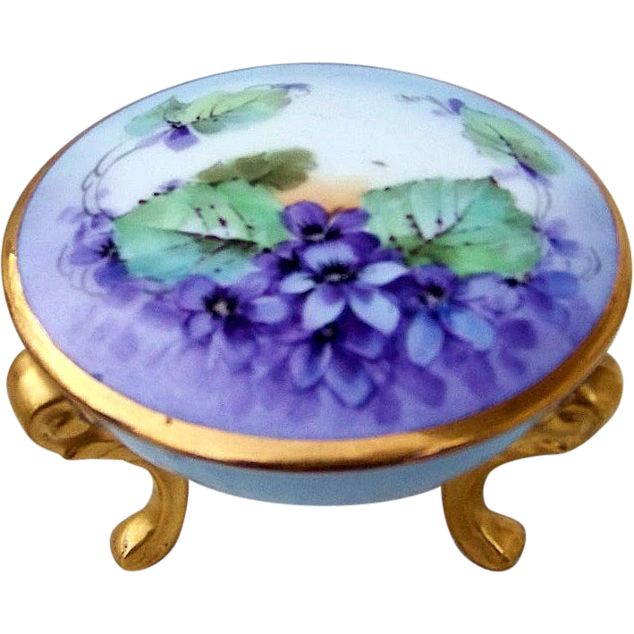 "Beautiful Bavaria 1900's Hand Painted ""Violets"" 3-Footed Dresser Box"