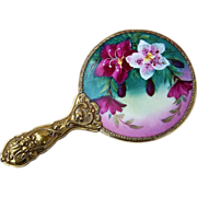 "Gorgeous Vintage European 1920's Hand Painted ""Purple & White Geranium"" Serpent & Floral Handle Beveled Hand Mirror"