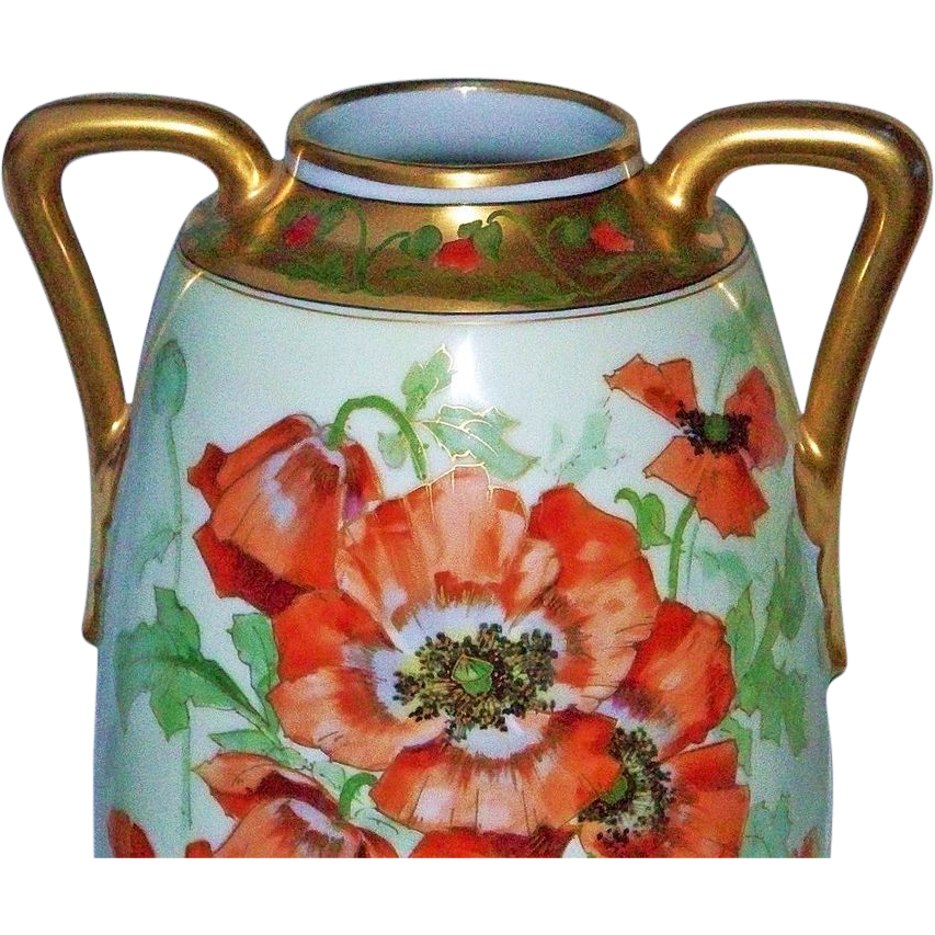 "Large 18"" Outstanding Austria 1900's Hand Painted ""Burnt Orange Poppy"" Floral Vase by the Chicago Artist, ""ALFRED"""