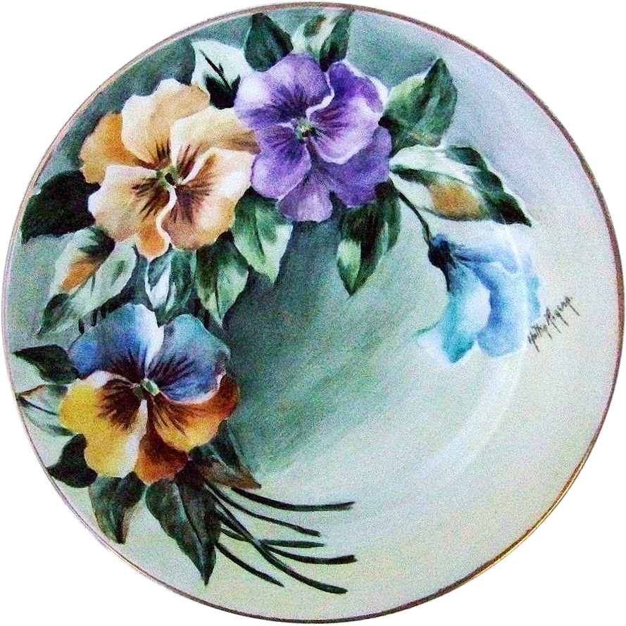 "Gorgeous MZ Austria 1900's Hand Painted ""Purple & Yellow Pansy"" 8-3/4"" Plate by the Artist, ""Holly Ropenp"""