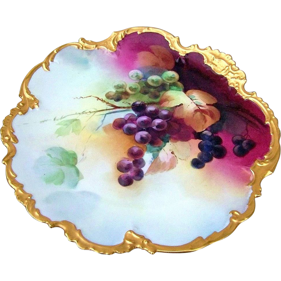 "Beautifully Decorated Limoges & White's Art Co. of Chicago 1914 Hand Painted Vibrant ""Purple & Green Grapes"" 12-3/4"" Rococo Charger By the Listed Artist, ""Edward Heyn"""