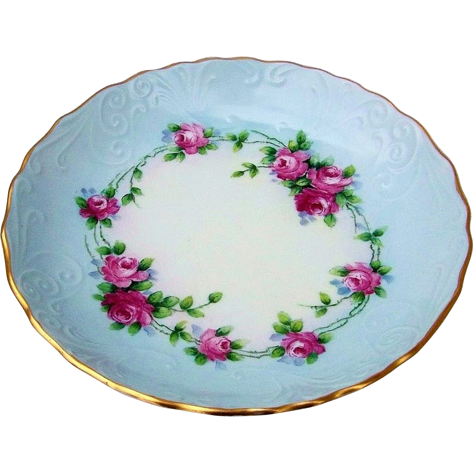 """Attractive Bavaria 1900's Hand Painted """"Petite Red Roses"""" 8"""" Shallow Dish by the Chicago Artist, """"E. Perl"""""""