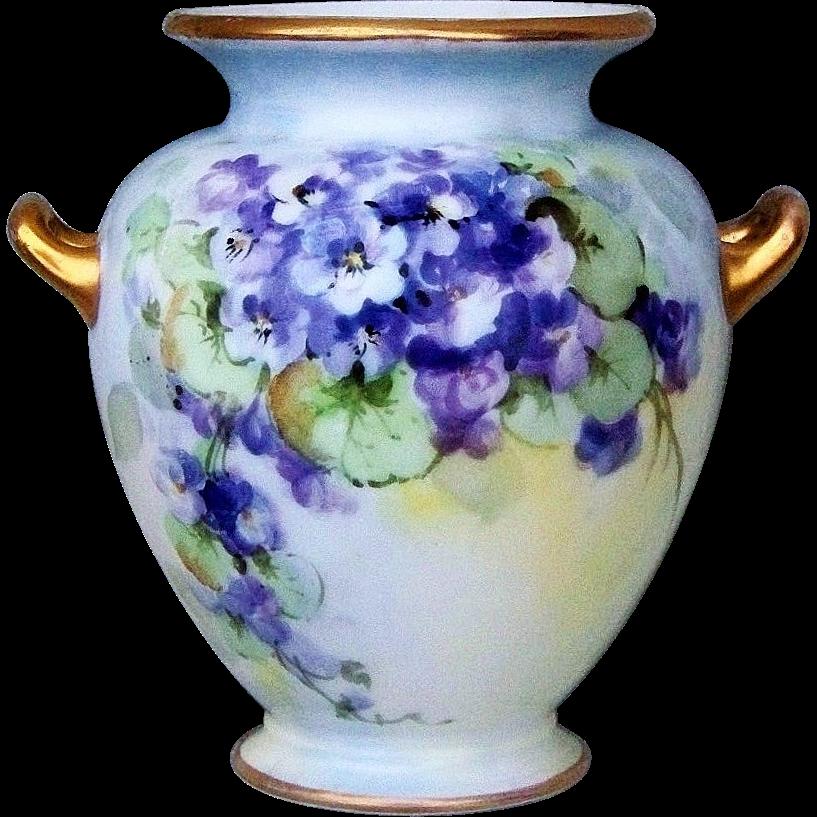 "Gorgeous Vintage Bavaria1900's Hand Painted ""Violets"" 5-7/8"" Vase"