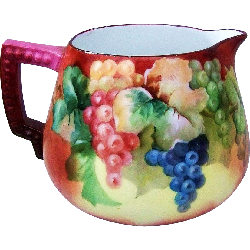 "Gorgeous Bavaria 1900's Hand Painted ""Purple, Red, & Green Grapes"" 6-1/2"" Cider Pitcher"