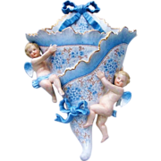 """Outstanding Dresden 1900 Hand Painted """"Cherubs & Forget Me Not Flowers"""" In Relief 12-1/2"""" Hanging Wall Pocket"""