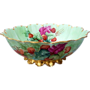 """Spectacular Haviland France 1900's Hand Painted """"Strawberry"""" 10-1/4"""" Footed Center Fruit Bowl"""