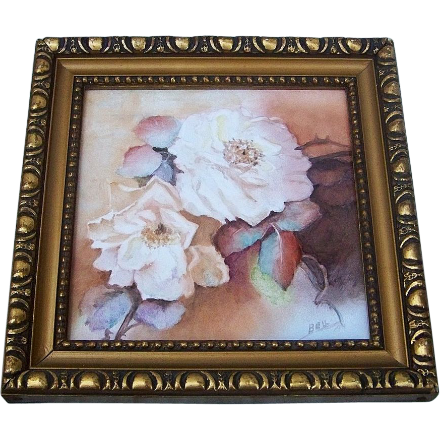 "Gorgeous Mettlach 1900's Hand Painted ""White Roses"" 8"" x 8"" Plaque Tile, by Artist, ""Bell"""