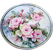 "Gorgeous Bavaria 1900's Hand Painted ""Pink Roses"" 12-3/4"" Plaque by the Artist ""D.R. Wolfe"""