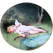 """Exceptional J.P.L. France Limoges 1900's Hand Painted """"Charming Sleeping Winged Cherub"""" 9"""" Plate by the Artist, """"S. Klasen"""""""