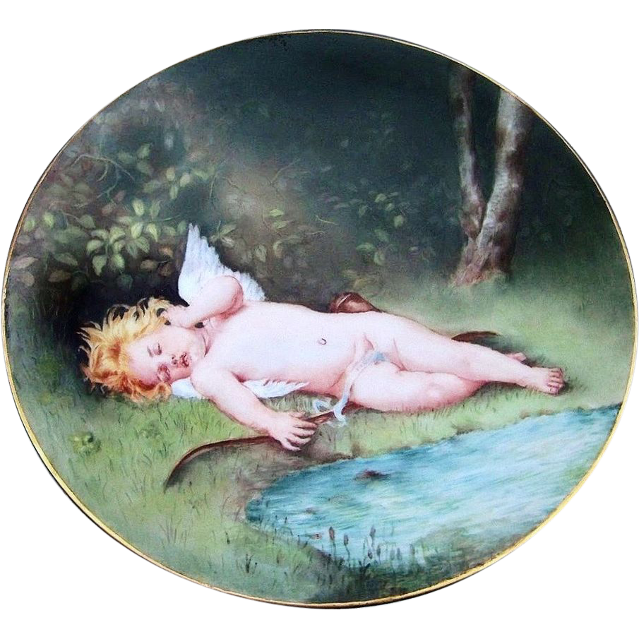 "Exceptional J.P.L. France Limoges 1900's Hand Painted ""Charming Sleeping Winged Cherub"" 9"" Plate by the Artist, ""S. Klasen"""