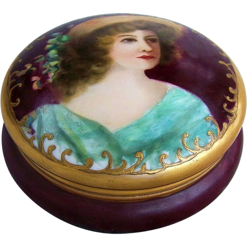 "Charming T & V France Limoges 1900's Hand Painted ""Victorian Lady"" 6"" Dresser Box Casket"