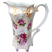 """Gorgeous Vintage RS Prussia 1900's Pearlize """"Red, Pink, & White Roses"""" 10-3/4"""" Footed Tankard"""