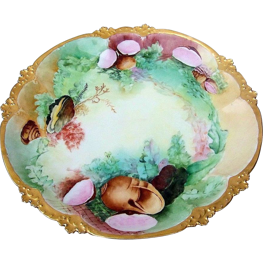 "Fine Vintage GDA France Limoges 1900's Hand Painted ""Sea Life"" 12"" Fancy Scallop Charger"