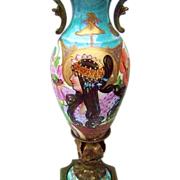 "Stunning Sevres Pre-1900 Hand Painted Alphonse Mucha ""Art Nouveau Lady"" 13"" Portrait Vase On Pedestal by the Artist ""Bria"""