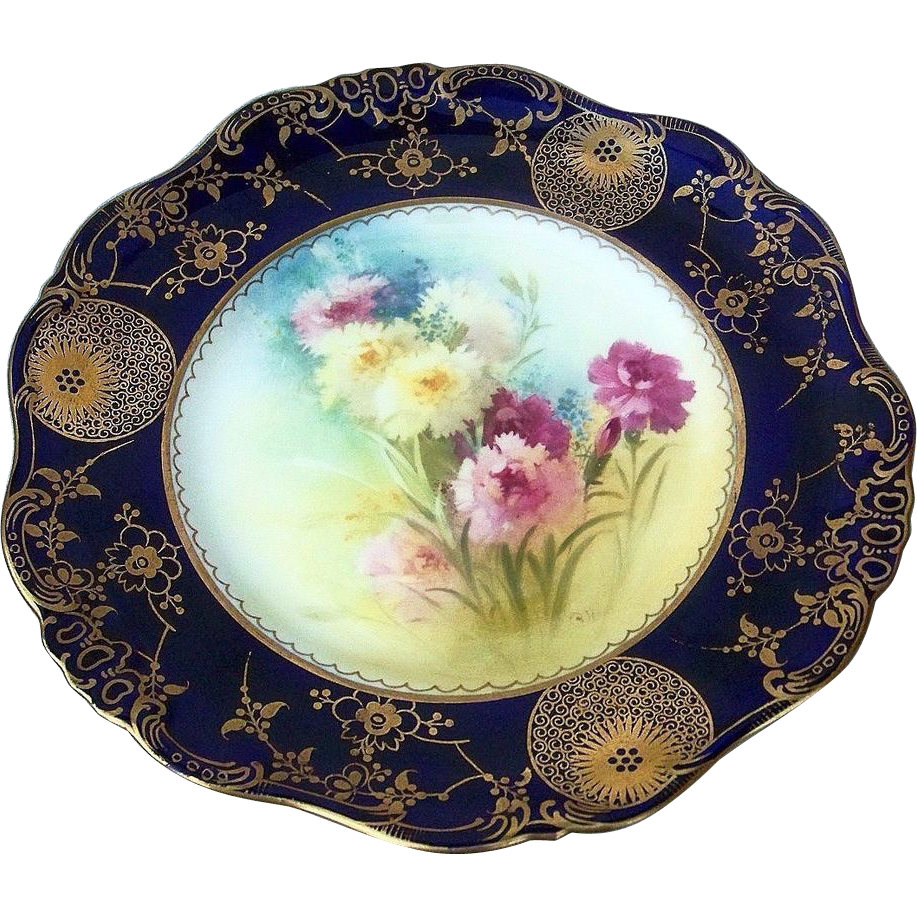 "Gorgeous Royal Doulton 1886-1901 Hand Painted ""Red, Pink, & Yellow Carnations"" 9-3/8"" Floral & Cobalt Plate by the Artist, ""Charles Hart"""