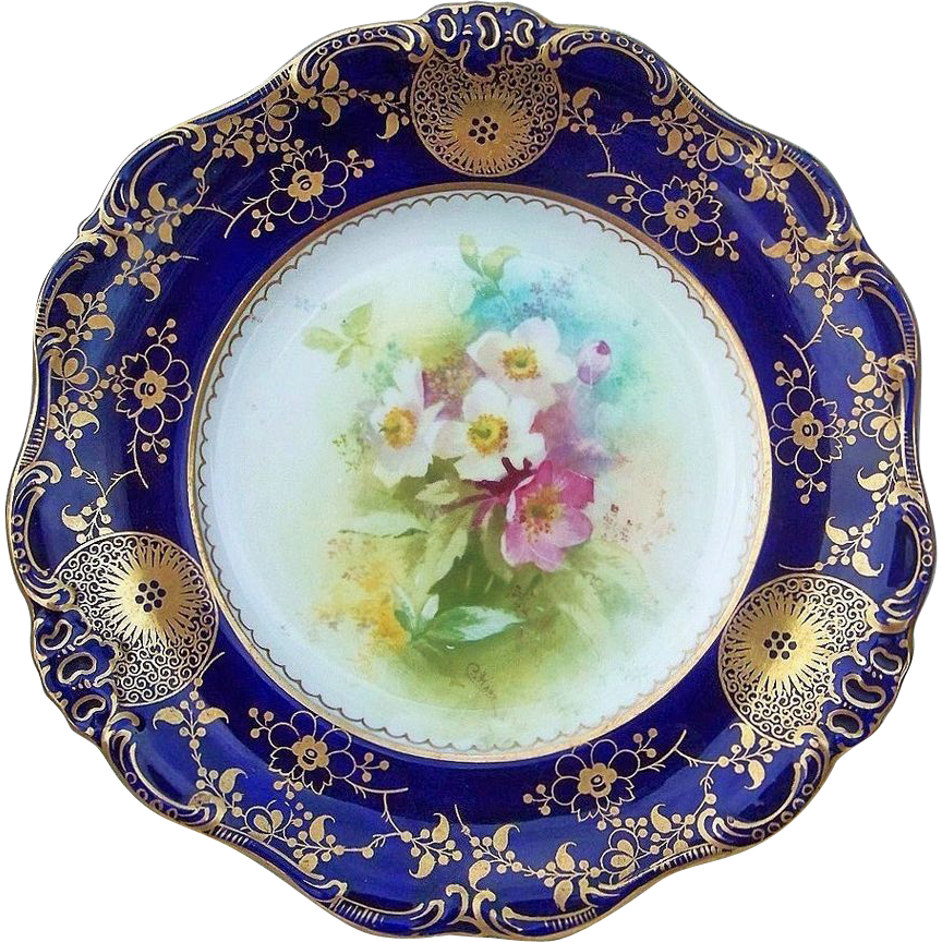 "Beautiful Royal Doulton 1886-1901 Hand Painted ""Pink, & White Pansy"" 9-3/8"" Floral & Cobalt Plate by the Artist, ""Charles Hart"""
