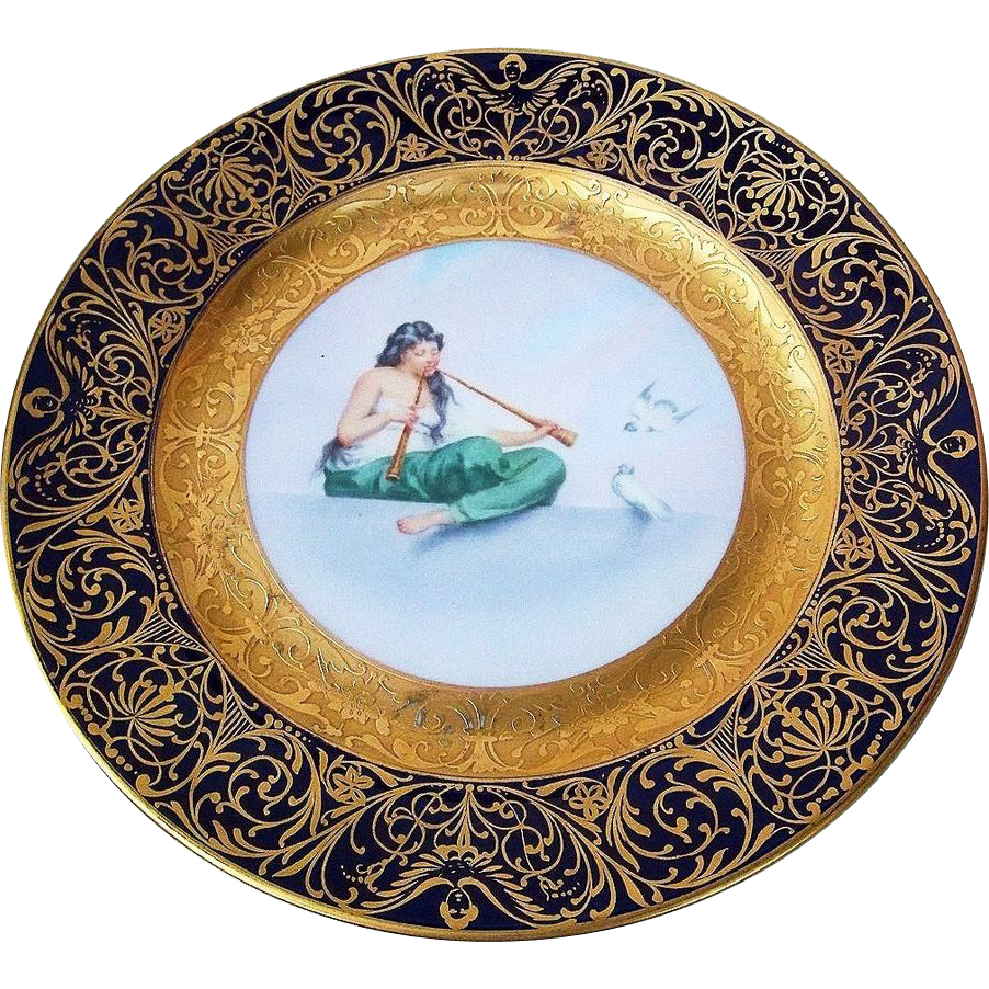 "Gorgeous Vintage Bavaria 1900's Hand Painted ""Lady Playing Pair of Flutes"" 10-7/8"" Heavy Gilded Charger"