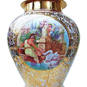 "50% OFF  Outstanding  17-1/2"" Czechoslovakia 1920's Hand Painted Scenic ""Lady Petting A Swan"" 17-1/2"" Covered 24 Karat Urn by the Pickard Artist, ""Maxwell Rean Klipphahn"""
