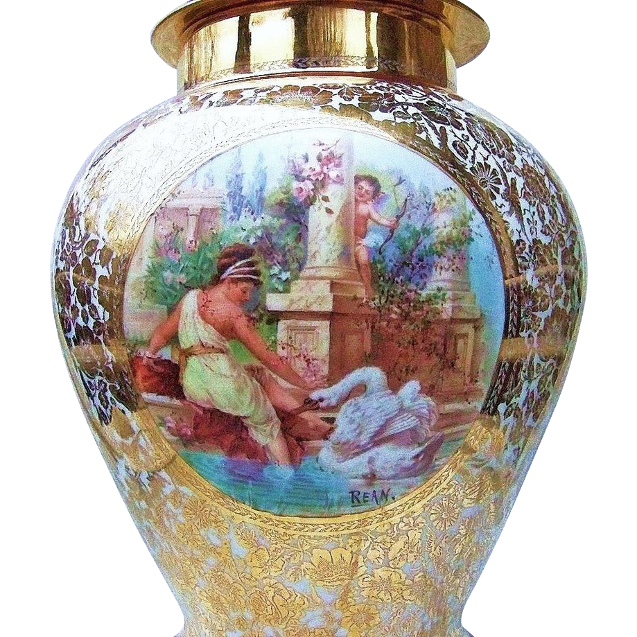 "Outstanding  17-1/2"" Czechoslovakia 1920's Hand Painted Scenic ""Lady Petting A Swan"" 17-1/2"" Covered 24 Karat Urn by the Pickard Artist, ""Maxwell Rean Klipphahn"""