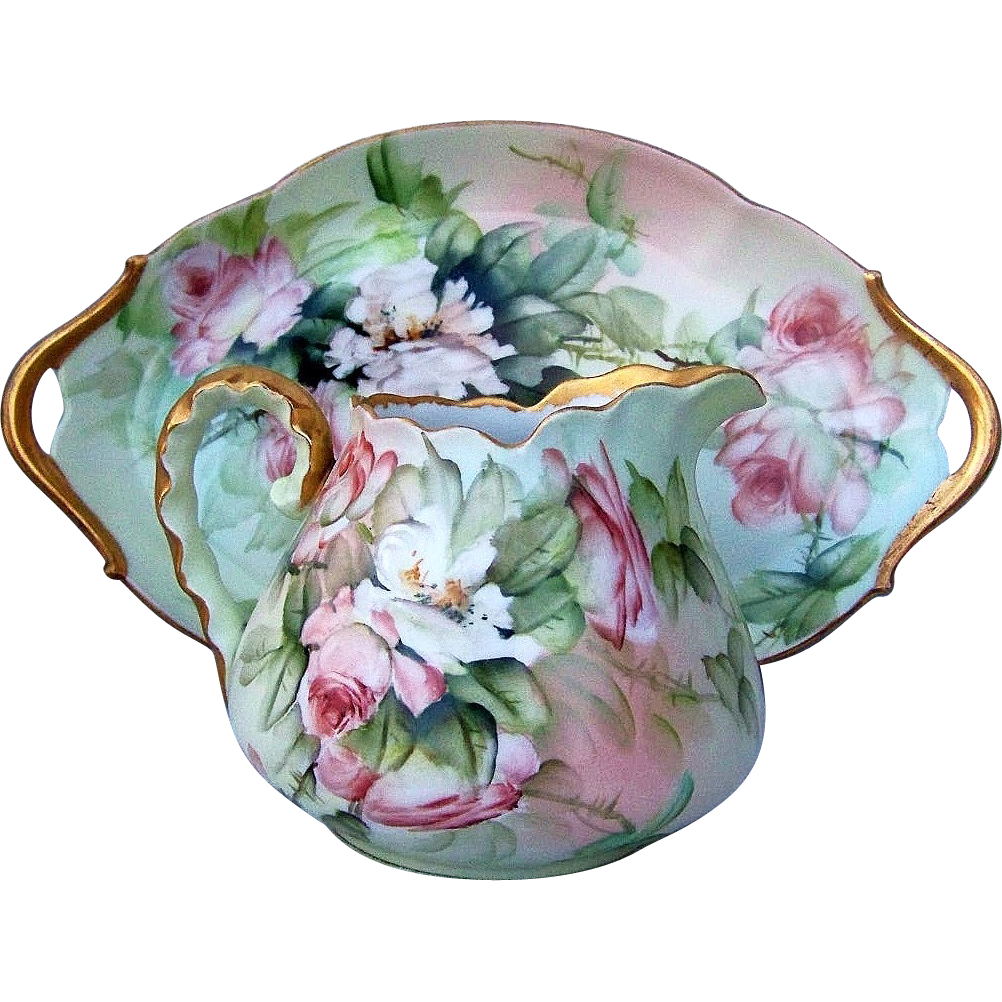 "Gorgeous T & V Limoges France 1910 Hand Painted ""Peach & White Roses"" 12-3/4"" 2-Handle Tray by Artist, ""Ester Miler"""