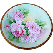 """Beautiful & Lavish Ginori 1900's Hand Painted Lifelike """"Pink Roses"""" 8-3/4"""" Plate by the Artist, """"E. Poli"""""""