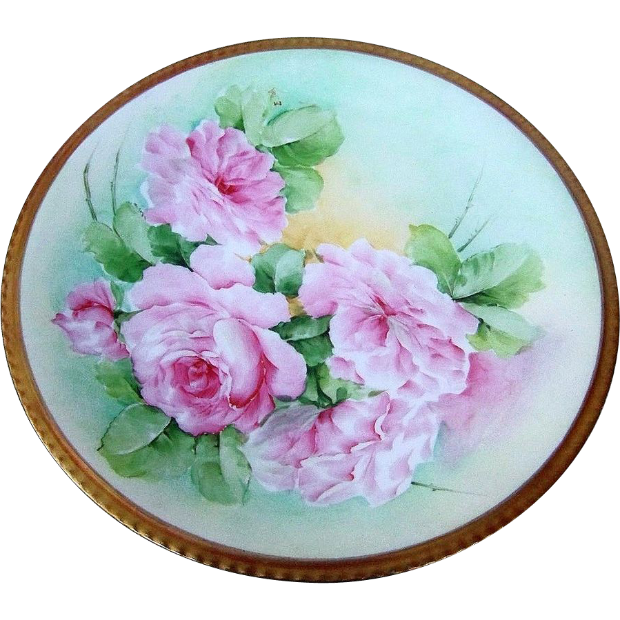 "Beautiful & Lavish Ginori 1900's Hand Painted Lifelike ""Pink Roses"" 8-3/4"" Plate by the Artist, ""E. Poli"""