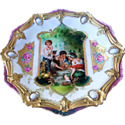 "Spectacular RS Prussia Vintage 1900's Scenic Keyhole ""Dice Throwers"" Ribbon & Jewel Mold Plate"