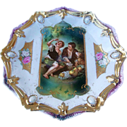 """Exquisite RS Prussia Vintage 1900's Scenic Keyhole """"Melon Eater"""" Ribbon & Jewel Mold Plate"""