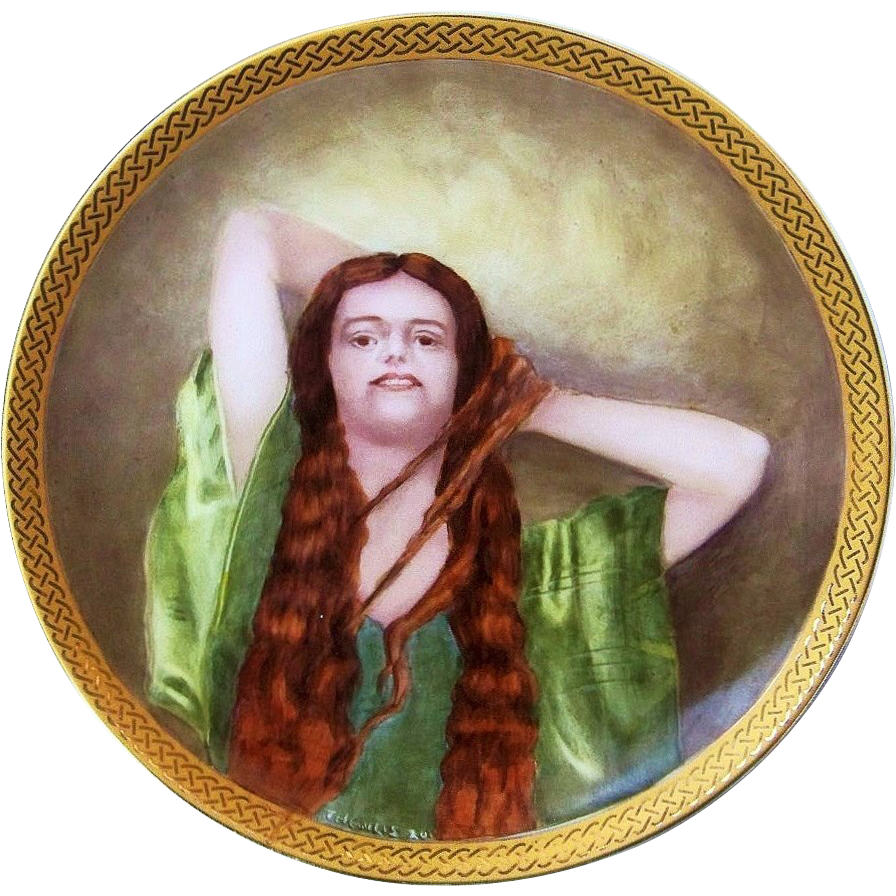 "Beautiful Bavaria 1900's Hand painted Portrait of A ""Victorian Woman"" Plate by the Artist, ""Thewlis"""