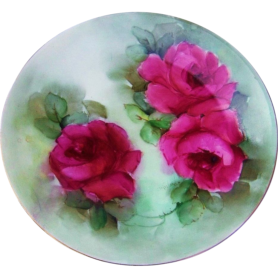 "Gorgeous Vintage Bavaria 1900's Hand Painted Vibrant ""Deep Red Roses"" 8-1/2"" Plate & Artist Signed"