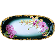 "Lavish & Exquisite T & V Limoges 1900's Hand Painted ""Pink & Yellow Water Lilies"" 14"" Rococo Style Tray - Red Tag Sale Item"