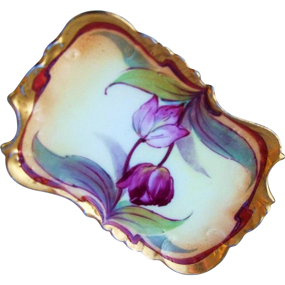 "Gorgeous Vintage Bavaria 1900's Hand Painted ""Red & Pink Tulip"" Pin Tray"