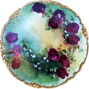"Lavish & Beautiful J.P.L. France Limoges 1900's Hand Painted ""Deep Red Roses"" 9-7/8"" Plate"