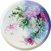 "Outstanding Vintage 16"" T & V Limoges France 1900's Hand Painted ""Red, Pink, & White Mums"" Tray"