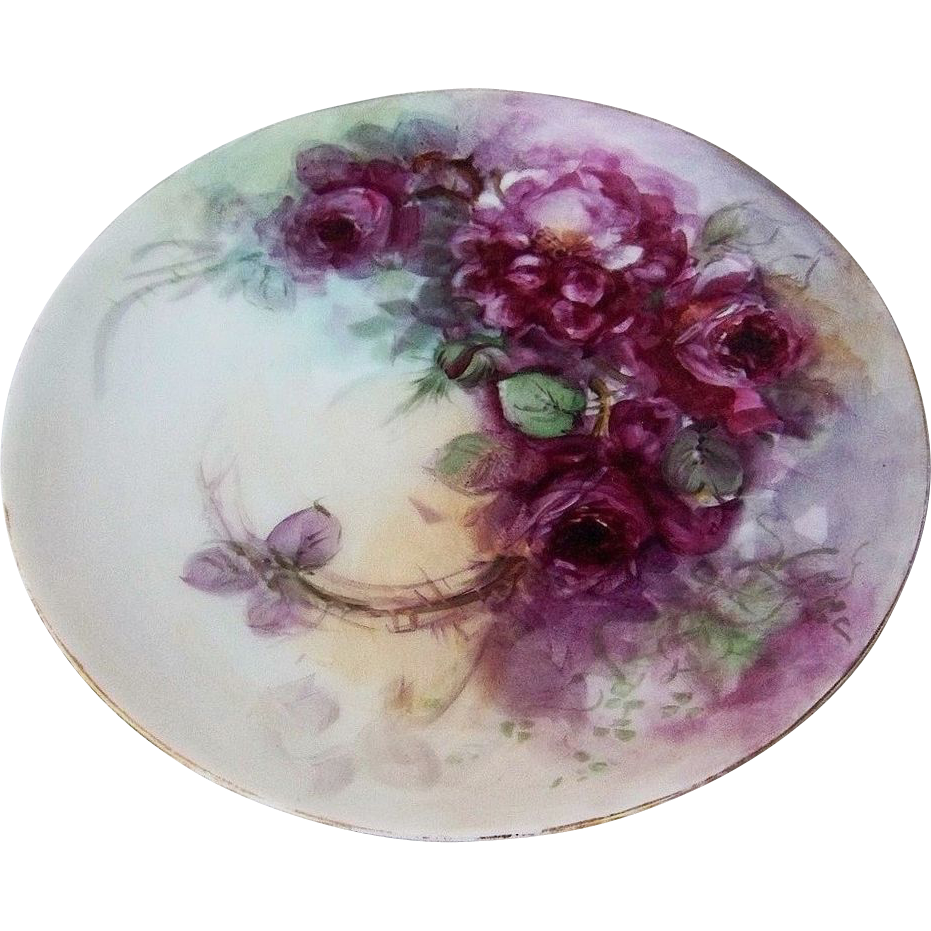 "Beautiful Sevres Bavaria 1900's Hand Painted ""Deep Red Roses"" 8-3/4"" Plate"