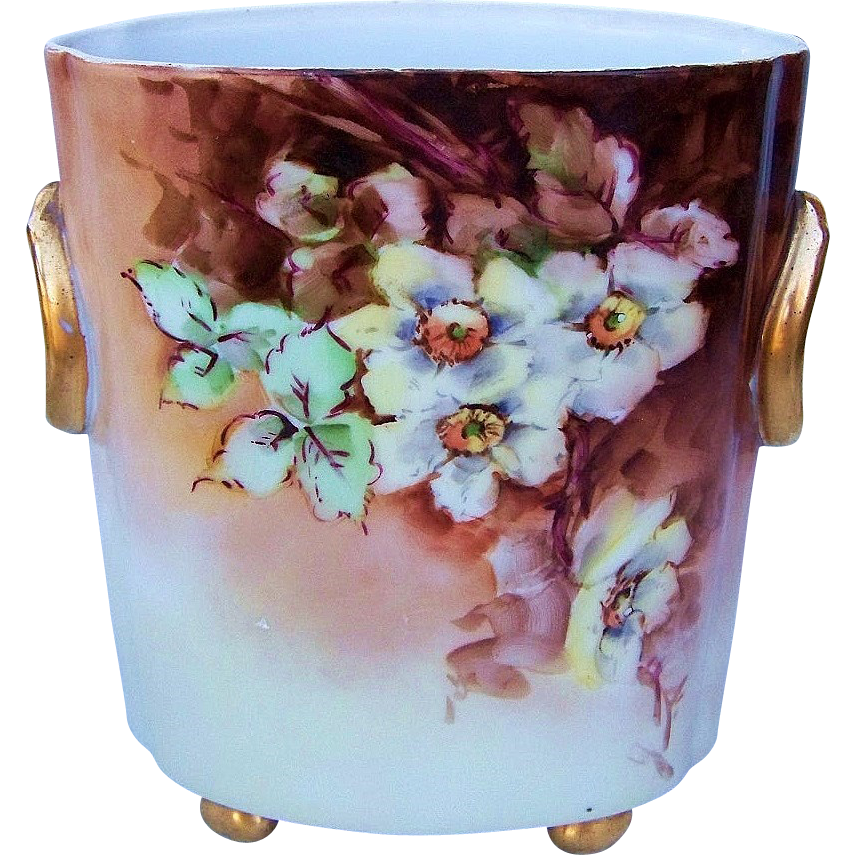 "Gorgeous H & Co. Selb Bavaria 1900's Hand Painted ""Light Yellow Roses"" 8-1/2"" Cache Pot by the Artist, ""Legg"""