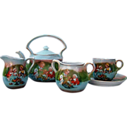 "Attractive Royal Bayreuth 1900's Scenic ""Three Little Girls Playing"" 6 Pc. Child's Tea Set"