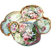 "Spectacular & Fancy Irregular Shape T & V Limoges France 1900's Hand Painted ""Peach & White Roses"" 13-1/2"" Dresser Tray by the Listed Artist, ""Ester Miler"""