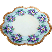 "Attractive Vintage Rosenthal Bavaria 1900's Hand Painted ""Purple Lavender Flower"" Fancy Scallop 10"" Plate"