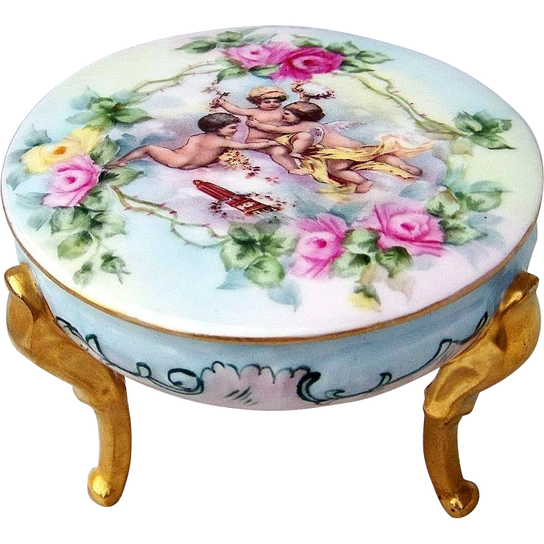"Gorgeous Vintage Limoges France Hand Painted ""Three Frolicking Cherubs & Roses"" 3-Footed Dresser Box"