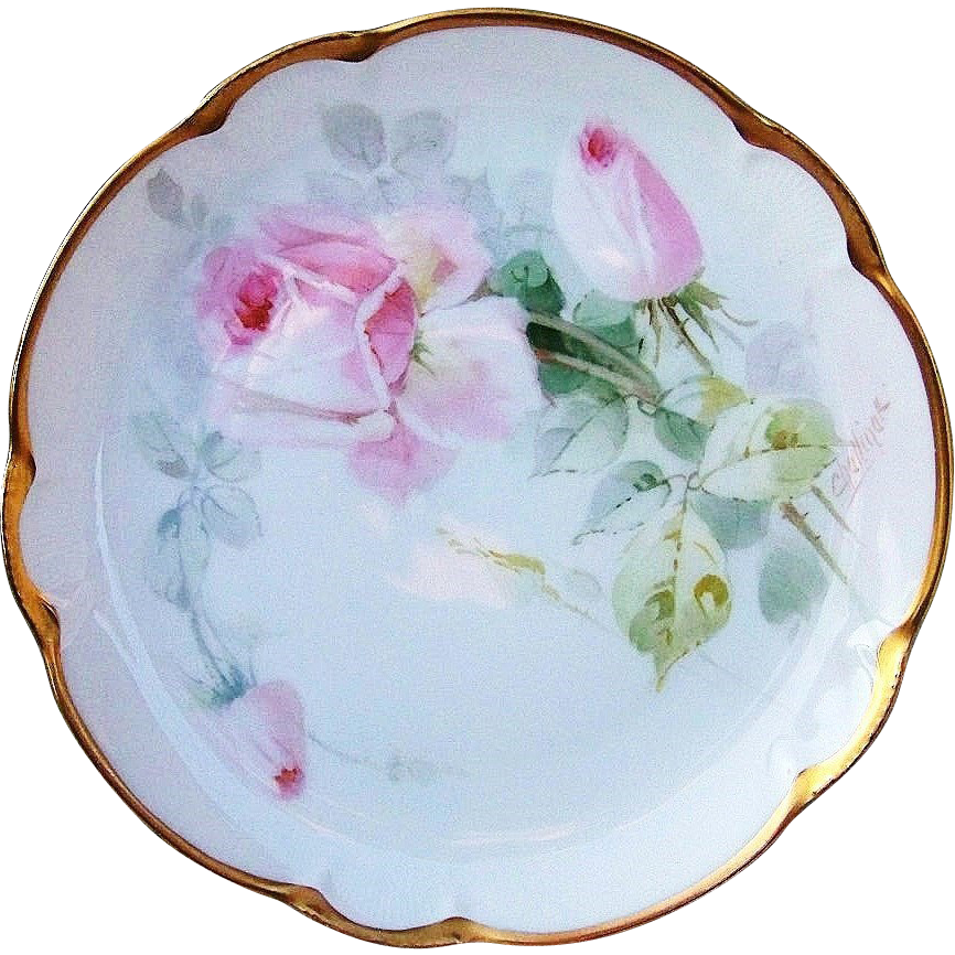 "Gorgeous Vintage JR Bavaria Early 1900's Hand Painted Delicate ""Pink Roses"" 8-5/8"" Plate by the Pickard Artist, Edward Challinor"