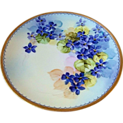 "Outstanding Sevres Bavaria Early 1900's Hand Painted Vibrant ""Violets"" 8-3/4"" Plate by the Pickard Artist, ""William Breidel"""