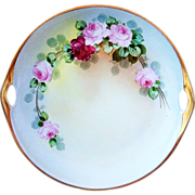"Outstanding Bavaria Vintage 1900's Hand Painted ""Red & Pink Roses"" 11"" 2-Handle Plate by the J.H. Stouffer Artist, ""Jospeh R. Kittler"""