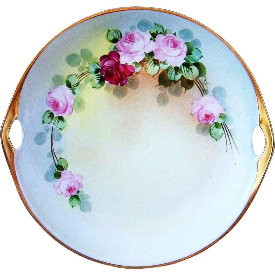 """Outstanding Bavaria Vintage 1900's Hand Painted """"Red & Pink Roses"""" 11"""" 2-Handle Plate by the J.H. Stouffer Artist, """"Jospeh R. Kittler"""""""