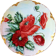 "Gorgeous Haviland France Vintage 1900's Hand Painted ""Burnt Orange Poppy"" Plate, by the Artist, ""W.F.L."""